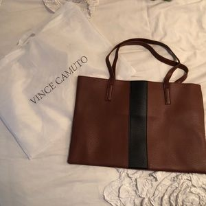 NEW VINCE CAMUTO BROWN VEGAN LEATHER TOTE